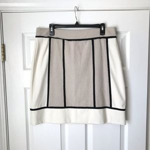 Ann Taylor cream black trim textured skirt